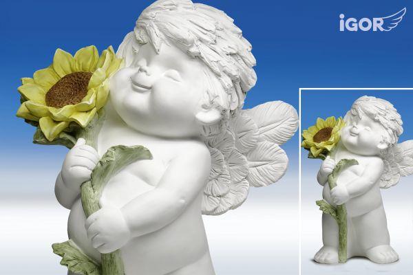 Engel Igor XL stehend mit Sonnenblume