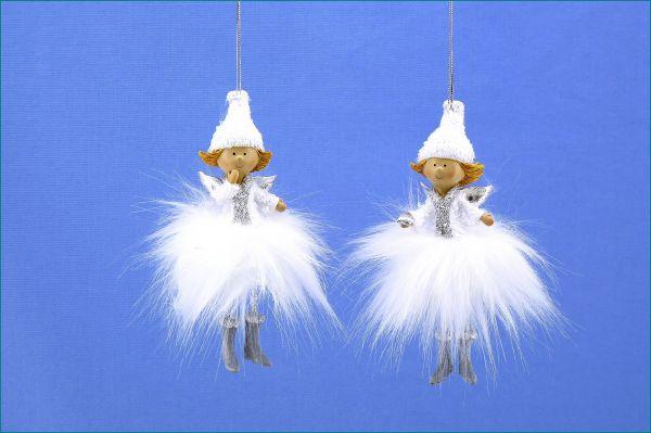 Engel hängend im 2er SET weiß