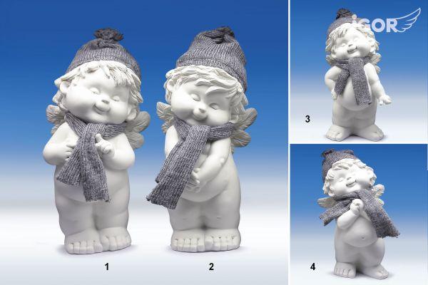 Engel Igor Winterengel mit Wollmütze weiss-grau