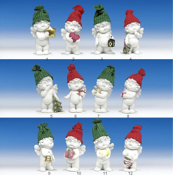 Weihnachtsengel Igor stehend mit bunter Pudelmütze
