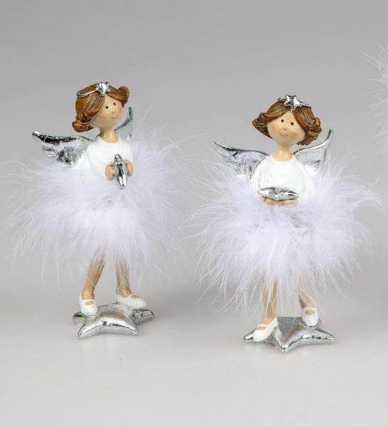 Engel Ballerina stehend weiß / silber im 2er SET Gr.S