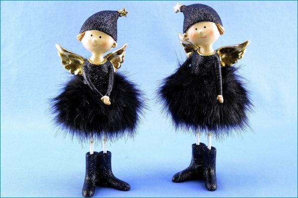 Engel stehend schwarz/gold im 2er SET
