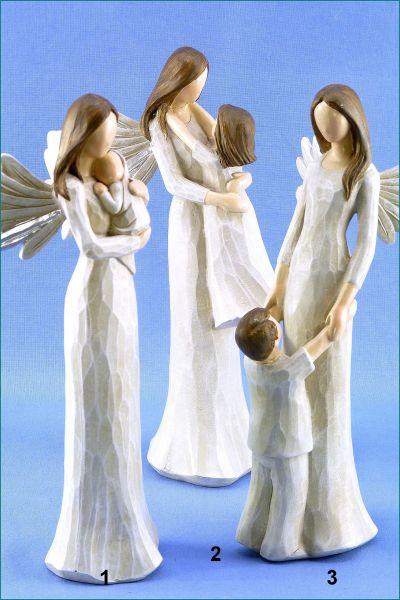 Poly Schutzengel mit Kind schlank creme / braun in drei Variationen